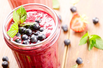 Blueberry and strawberry healthy smoothie