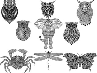 Hand drawn zentangle animaks for adult Coloring Page in style, tattoo, illustration with high details isolated on white background. Vector monochrome sketch.