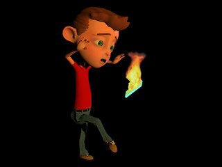 computer rendered illustration of a cartoon character tossing a burning cell phone