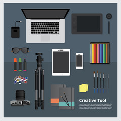 Creative Tool Workspace isolated vector illustration