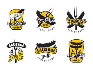Collection of logos for street food cafe sausage grill