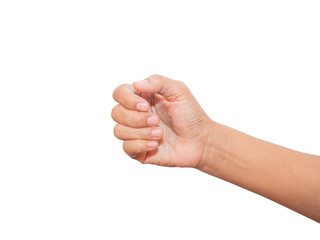 adult women hand giving or holding something like business card,