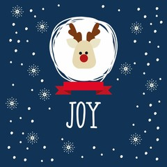 Christmas card with reindeer and snowflakes. Happy New Year and Merry Christmas vector card with funny Santa Claus Deer.