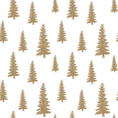 Pine tree hand drawn sketch retro, vintage Seamless Pattern. Vector Illustration.