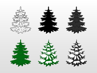 vector illustration. Set icons of Christmas tree, green, black, with snow, contoured silhouette