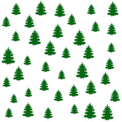 Vector illustration. Abstract illustration of a seamless pattern of Christmas trees on a white background. design for packaging, backdrop, wrapping