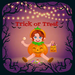Happy Halloween. Set of cute cartoon children in colorful halloween costumes: Dracula, girl dressed as a pumpkin,