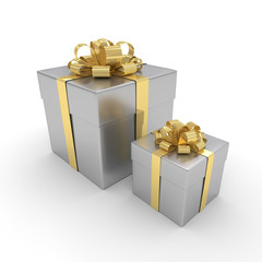 3d rendering of silver gift boxes with golden ribbon isolated ov