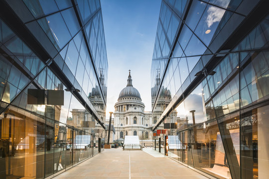 St Pauls Cathedral reflected in glass walls of One New Change in London