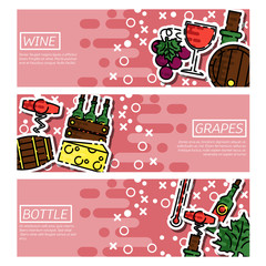 Set of Horizontal Banners about wine