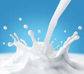 Splash of milk on a blue background. 3d illustration