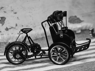 Bicycle rickshaws model toy to Asia
