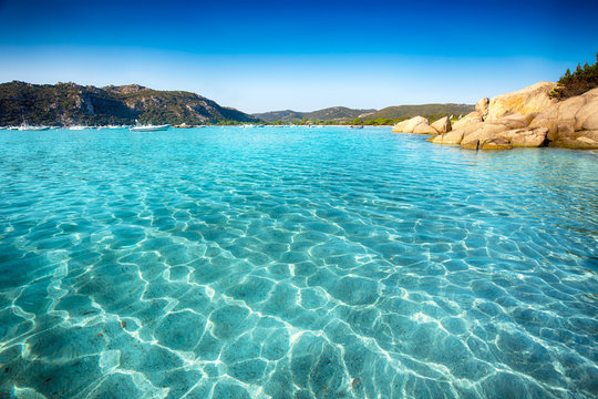 Santa Giulia beach with azure clear water, Corsica, France