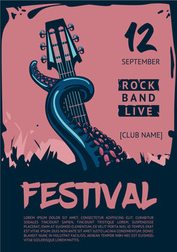 Music poster template for rock concert. Octopus with guitar.