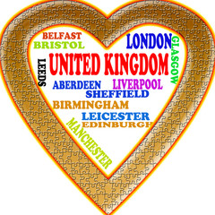 United Kingdom in the Europe and United Kingdom's cities as background, with form of the heart