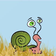 Illustration of vector snail on grass. Cute cartoon snail with b