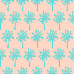Modern seamless pattern with hand drawn palm trees.