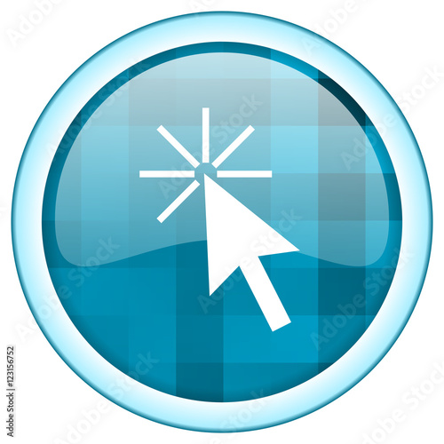 """Blue circle vector click here icon. Round internet glossy ..."