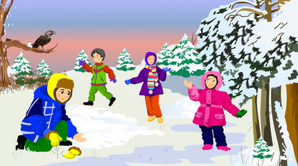 Children playing with snow in winter