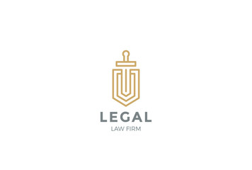 Lawyer Attorney Logo vector Shield Sword Law Legal Security icon