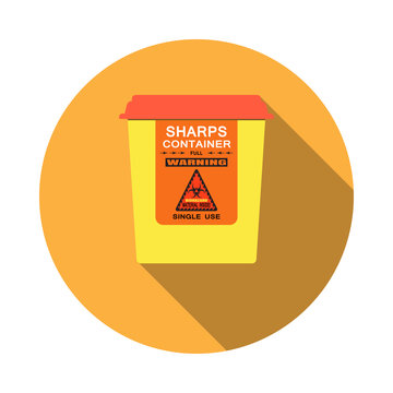 Biohazard - vector isolated icon of sharps container with shadow on the red background.