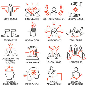Vector set of 16 icons related to business management, strategy, career progress and business process. Mono line pictograms and infographics design elements - part 43