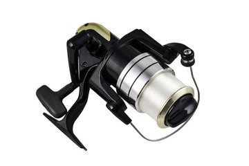 Black spinning reel on the white background