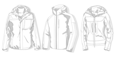 Sport jacket vector set.