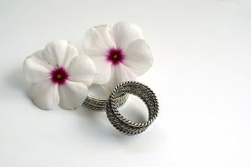 Engraved Metal Cup with Wedding Rings Wedding Rings and engraved metal cup