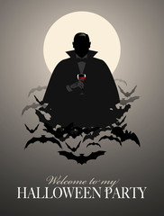 Elegant Vampire silhouette on a cloud of bats holding a glass of wine (or blood)
