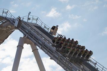 Roller Coaster Ride in a Heart Shape on Sky