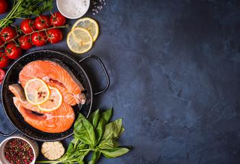 Fresh salmon steak background