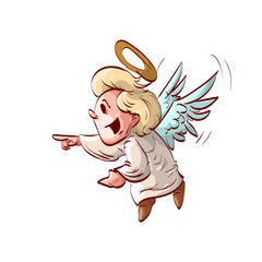 Colorful vector illustration of a cute cartoon angel laughing or making fun of something.