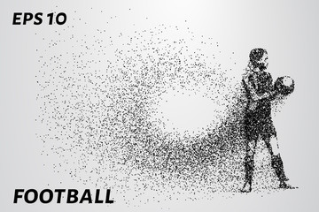 Football of the particles. The goalkeeper keeps mints in his hands. The composition consists of small circles. EPS 10
