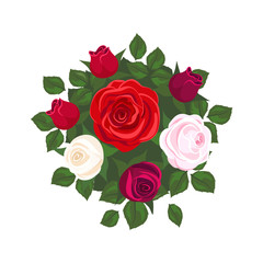 white roses, pink roses and red roses on white background. roses card