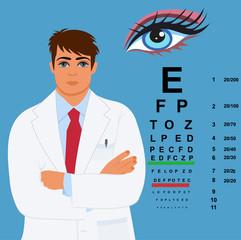 eye doctor, ophthalmologist, vector illustration