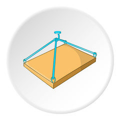 Crane with platform icon. Cartoon illustration of crane with platform vector icon for web