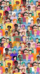 Multiethnic group of people. Seamless vector pattern with men and women of different ages, races and nationalities. Print for fabric. Cute cartoon illustration.