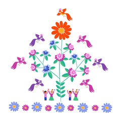 Festive template for embroidery. Flower - Sun, blooming tree, birds and cute cartoon people. Mexican motives. Beautiful vector background - 2.