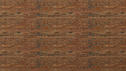 Red brick wall background. 3d render