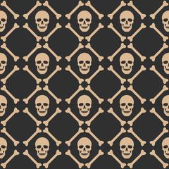 Skull seamless dark pattern