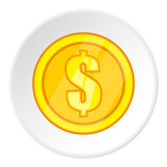 Coin icon. Cartoon illustration of coin vector icon for web