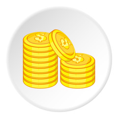 Coins of money icon. Cartoon illustration of coins of money vector icon for web