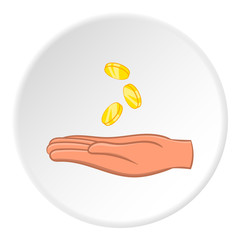 Hand holding coins icon. Cartoon illustration of hand holding coins vector icon for web