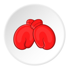 Red boxing gloves icon. Cartoon illustration of red boxing gloves vector icon for web