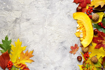 Bright autumn leaves on a grey concrete background.
