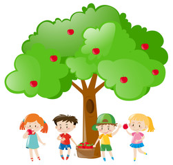 Children picking out apples on the tree