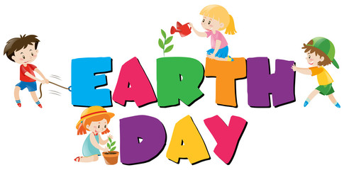 Poster design with earth day theme