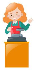 Female clerk working on desk