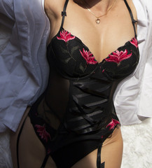 lingerie black with red accents